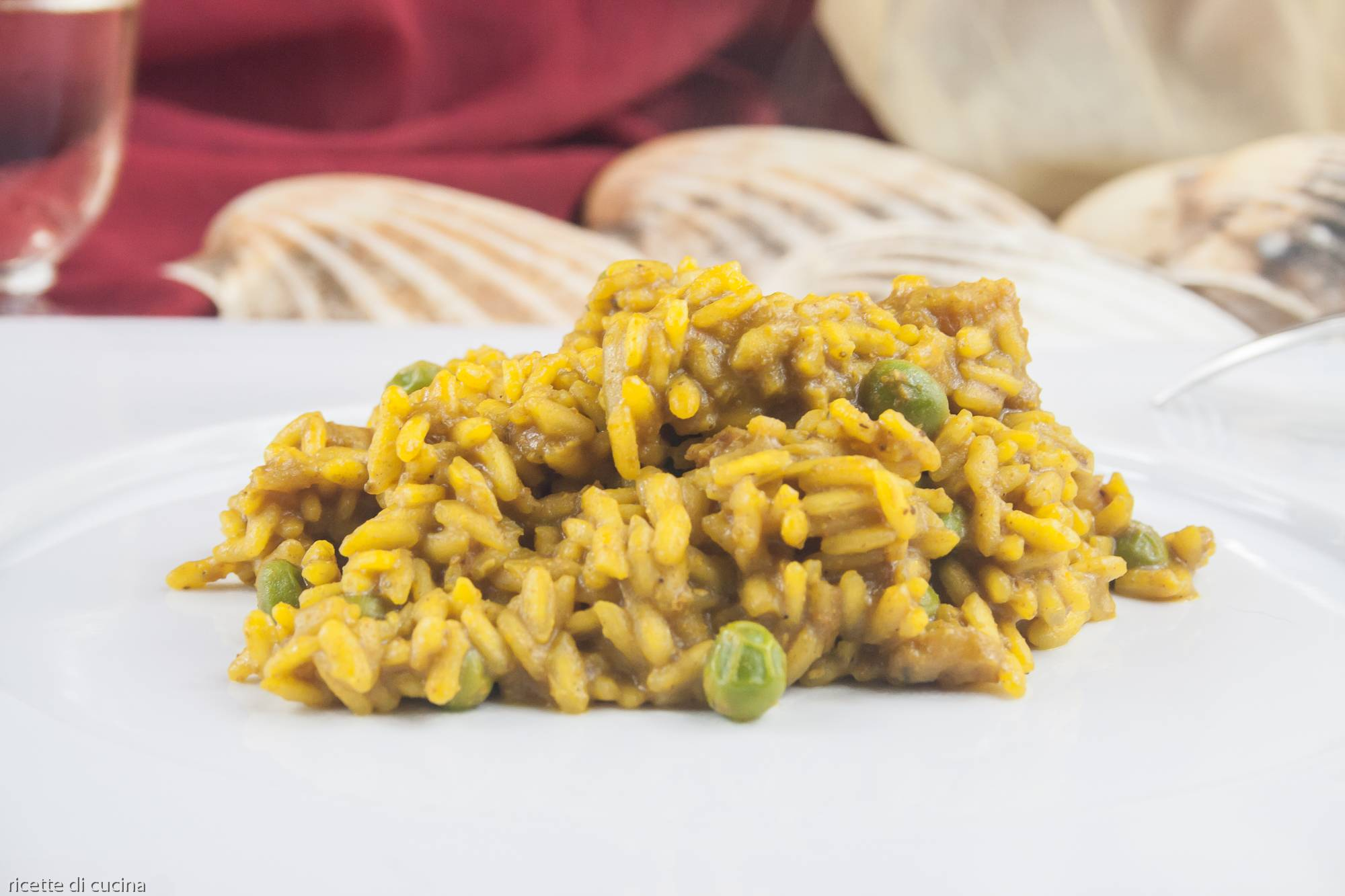 risotto curry perscatrice piselli
